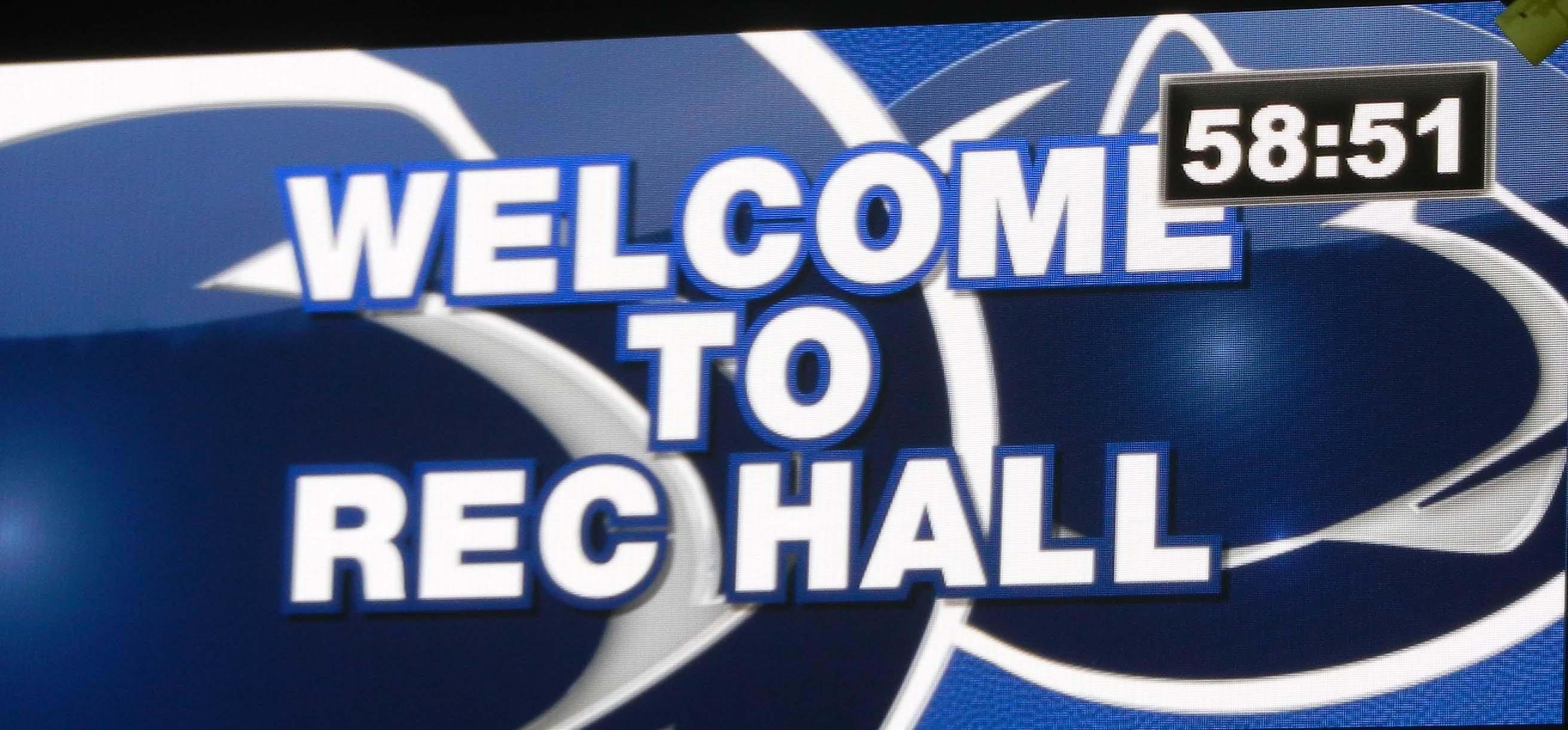 Rec Hall Scoreboard Welcome Closeup