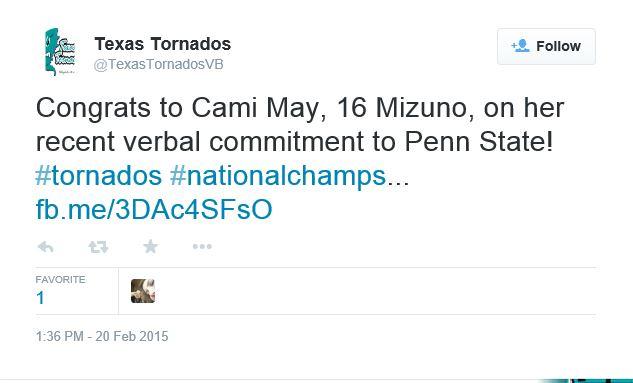 Texas Tornados Congrats to Cami May
