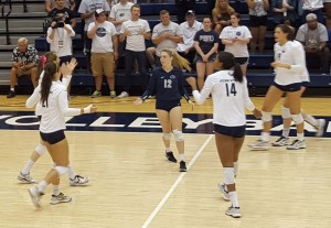 Penn State after a point in Buffalo match