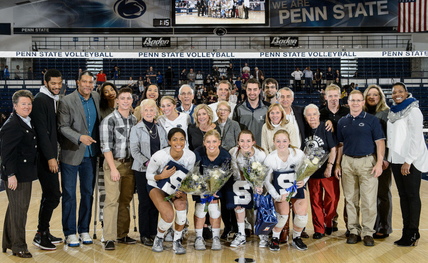 The Penn State women's volleyball seniors are recogized with their families during the senior day celebration prior the the Nittany Lions match with Northwestern on Nov. 25, 2015. (Photo by Mark Selders, courtesy of GoPSUsports.com
