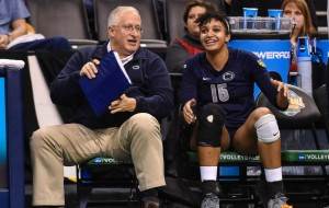 Head coach Russ Rose has a word with Haleigh Washington (15) during the Nittany Lions national semifinal match with Stanford. Penn State women's volleyball defeated No.1 Stanford 3-1 to advance to the national finals against BYU Saturday night at the Chesapeake Energy Arena in Oklahoma City. Photo by Mark Selders